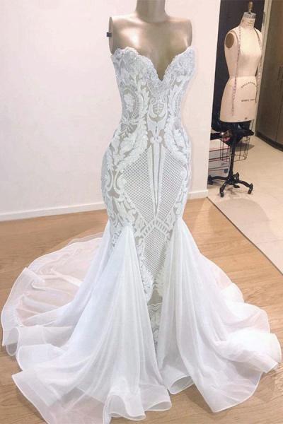 Elegant Sweetheart Sequins Mermaid Wedding Dress_1