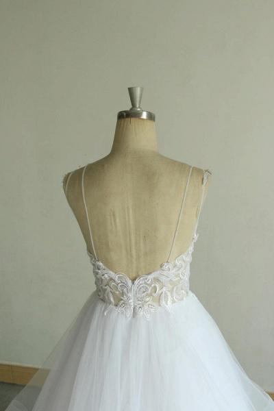 Chic Strap Spaghetti Appliques Tulle Wedding Dress_7