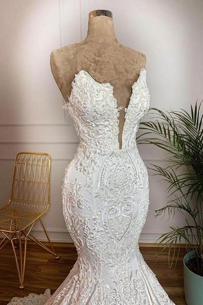 Strapless Appliques Satin Mermaid Wedding Dress_3