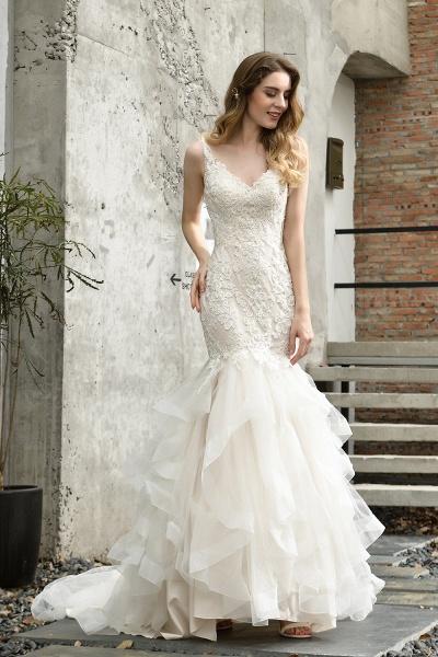 Mermiad Sweetheart Floral Lace Floor Length Wedding Dress_2