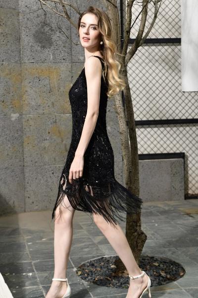 Chic Fringed Sequins V-neck Knee Length Prom Dress_9