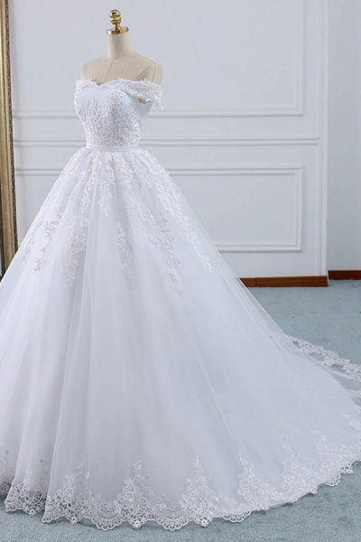 Lace-up Off Shoulder Appliques Tulle Wedding Dress_3