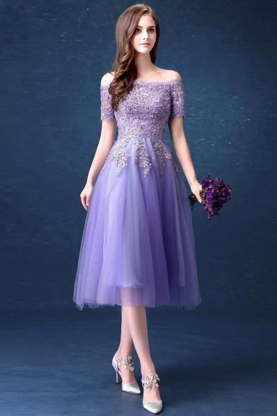 A-line Bateau Tulle Appliques Prom Dress_2