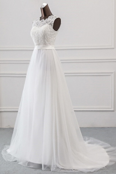 Graceful Lace-up Tulle A-line Wedding Dress_4