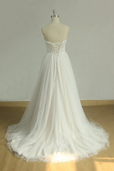 Detachable Lace-up Tulle A-line Wedding Dress_3