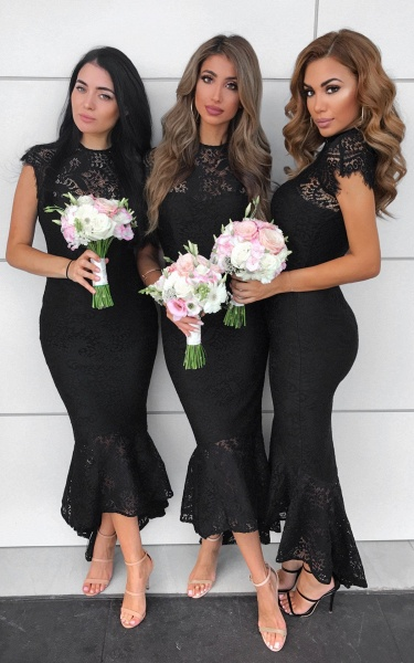 Awesome Lace High-low Mermaid Bridesmaid Dress_3
