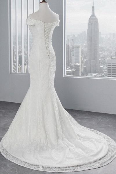 Off Shoulder Lace-up Mermaid Lace Wedding Dress_5