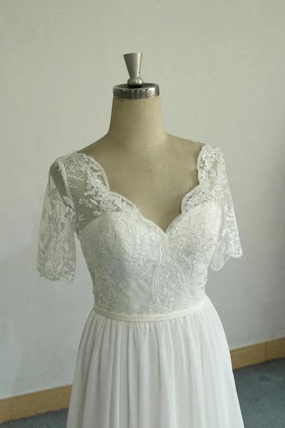 Short Sleeve V-neck Lace Chiffon Wedding Dress_5