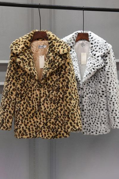 Women's Fall & Winter Leopard Daily Faux Fur Coat_7