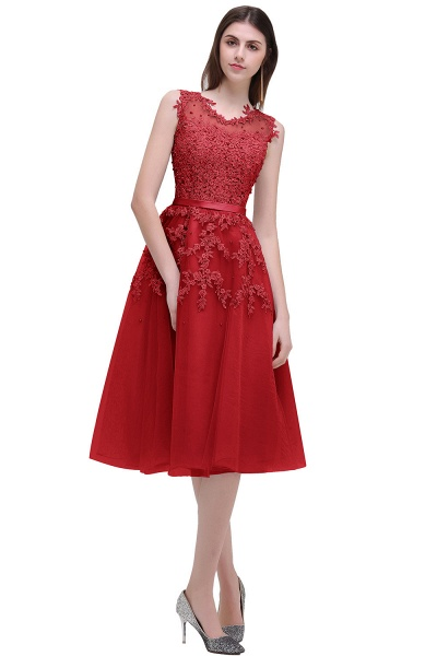 EMORY | A-Line Crew Tea Length Lace Appliques Short Prom Dresses_2