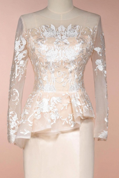 Modest High Neck Lace Mermaid Evening Dress_5