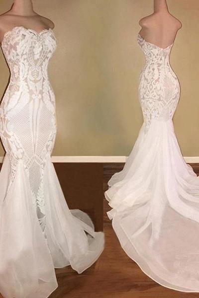 Elegant Sweetheart Sequins Mermaid Wedding Dress_3