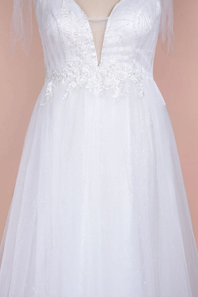 Chic V-neck Appliques Tulle A-line Wedding Dress_6
