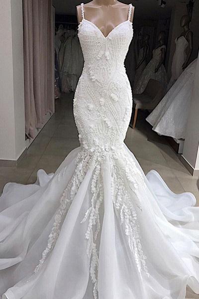 Spaghetti Strap Appliques Mermaid Wedding Dress_1