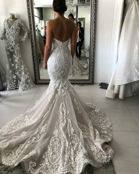 Amazing Strapless Appliques Mermaid Wedding Dress_3