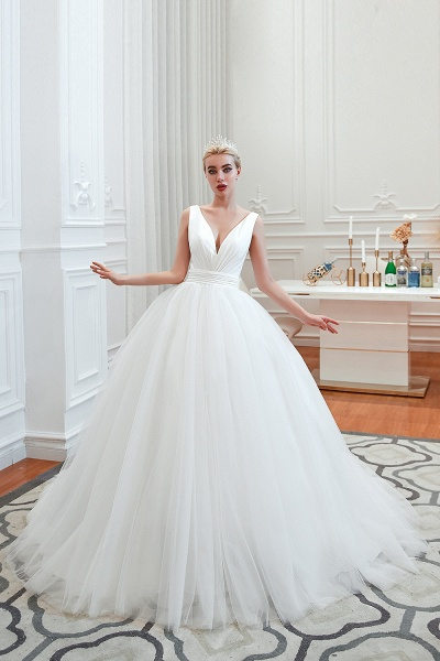 Elegant Lace-up Ruffle Tulle A-line Wedding Dress_3