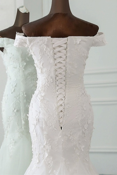 Off Shoulder Lace-up Applique Mermaid Wedding Dress_6