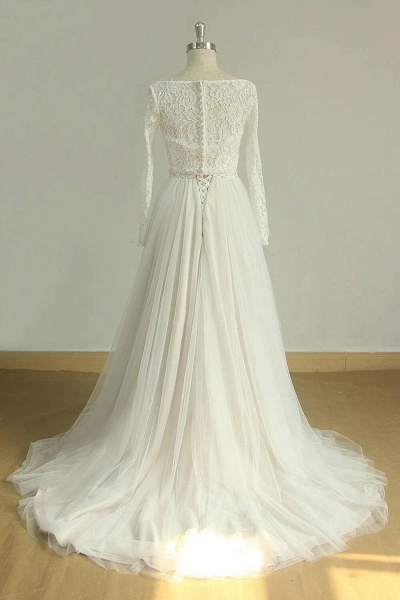 Detachable Lace-up Tulle A-line Wedding Dress_5