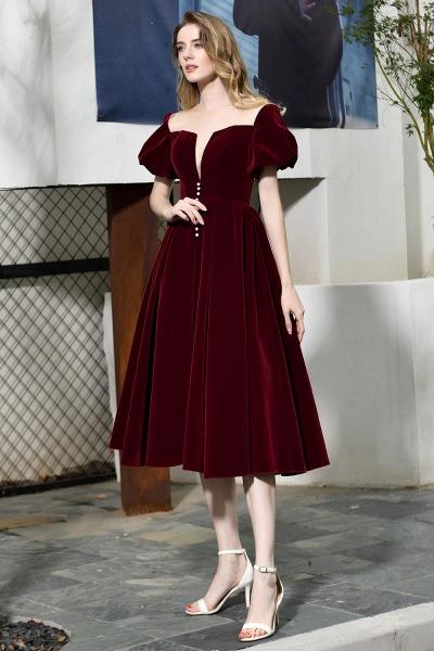 Burgundy Velvet Bubble Sleeve V-neck Short Prom Dress_11