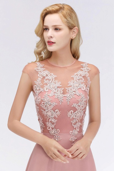 Lace Appliques Beads Cap Sleeve A-line Evening Prom Dress_7