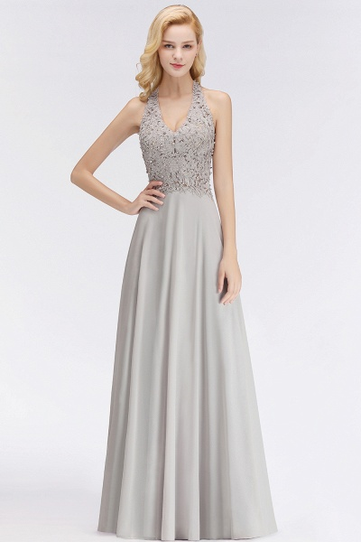 Halter Composite Emulation Silk A-line Floor Length Bridesmaid Dress_8