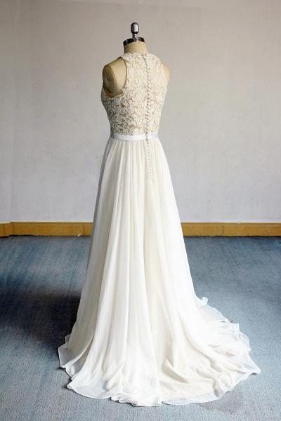 Eye-catching Lace Chiffon A-line Wedding Dress_3