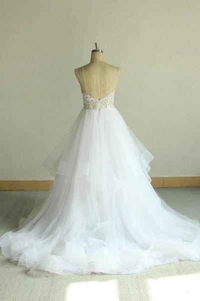 Chic Strap Spaghetti Appliques Tulle Wedding Dress_3
