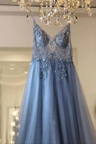 Best V-neck Tulle A-line Prom Dress_4