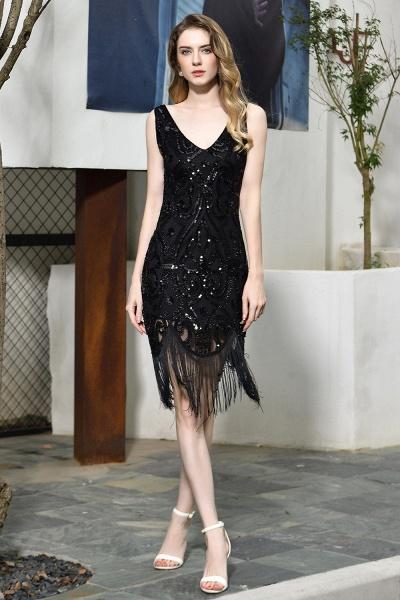 Chic Fringed Sequins V-neck Knee Length Prom Dress_2