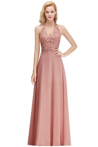 Halter Composite Emulation Silk A-line Floor Length Bridesmaid Dress_15