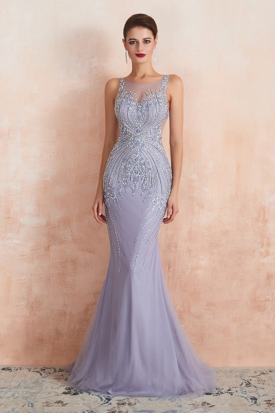 Graceful Jewel Tulle Mermaid Prom Dress_2