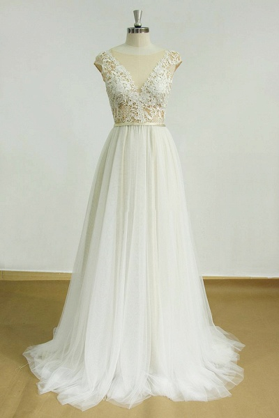 Chic Cap Sleeve Lace Tulle A-line Wedding Dress_1