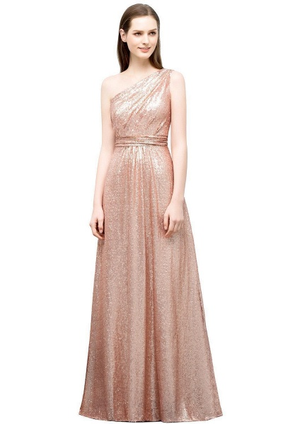 Awesome One Shoulder Sequined A-line Evening Dress_1