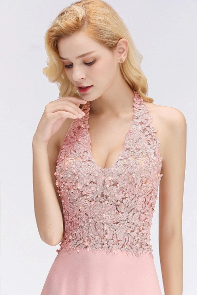 Halter Composite Emulation Silk A-line Floor Length Bridesmaid Dress_18