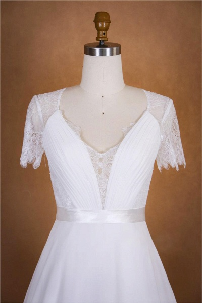 Ruffle Short Sleeve Lace Chiffon Wedding Dress_5