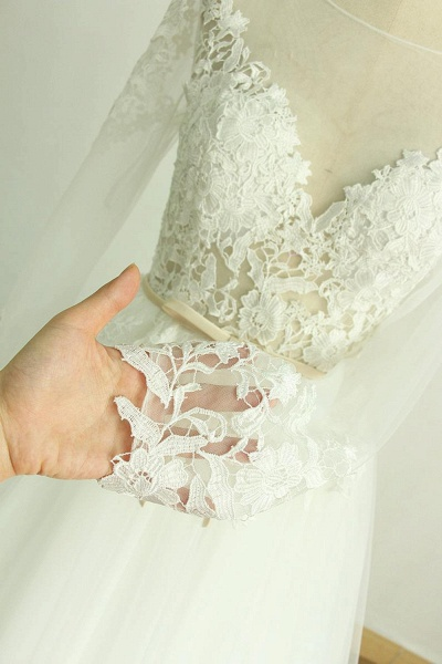 Long Sleeve Appliques Tulle A-line Wedding Dress_5