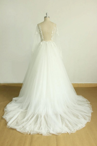 Long Sleeve Appliques Tulle A-line Wedding Dress_4