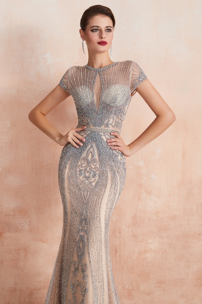 Marvelous Jewel Tulle Mermaid Prom Dress_15