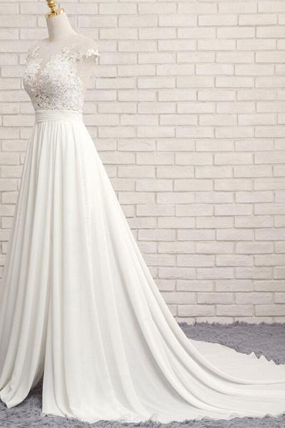 Front Slit Appliques Chiffon A-line Wedding Dress_4