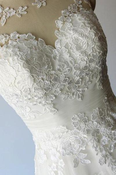 Illusion Lace Tulle A-Line Mini Wedding Dress_8
