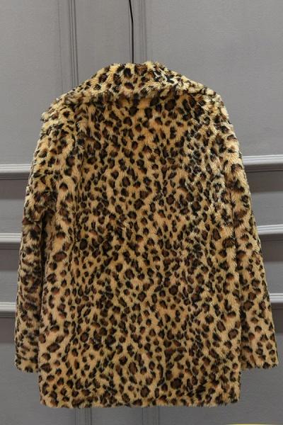 Women's Fall & Winter Leopard Daily Faux Fur Coat_6