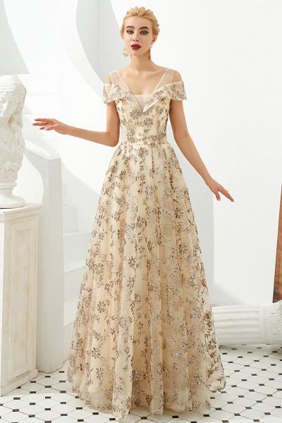 Graceful V-neck Tulle A-line Prom Dress_7