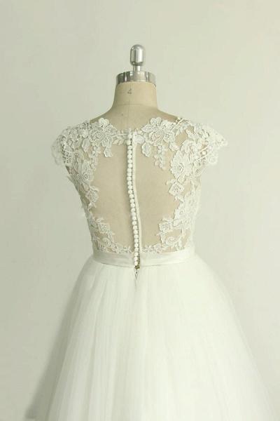 Appliques Cap Sleeve Tulle A-line Wedding Dress_5