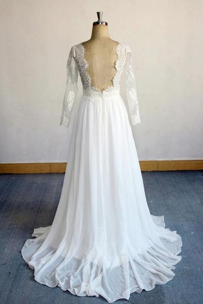 Open Back Long Sleeve Lace Chiffon Wedding Dress_3