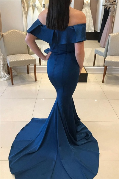 Graceful Off-the-shoulder Stretch Satin Mermaid Evening Dress_2