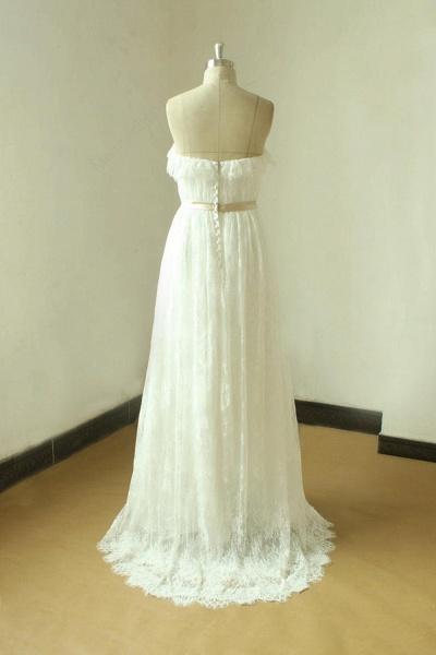 Strapless Lace A-line Floor Length Wedding Dress_4