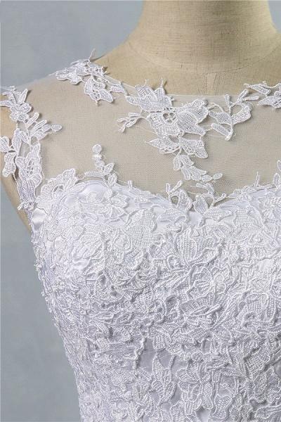 Illusion Appliques Tulle A-line Wedding Dress_5