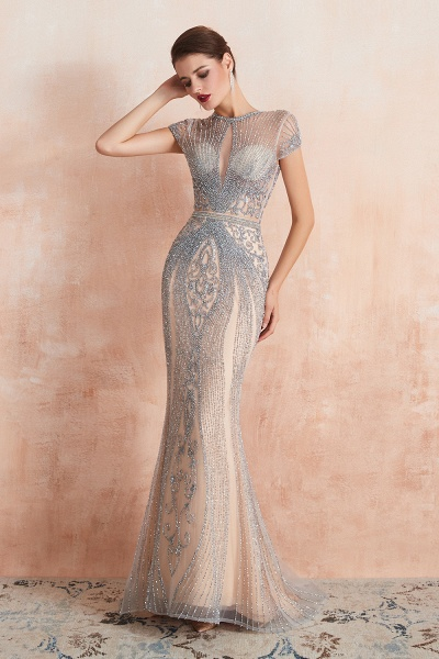 Marvelous Jewel Tulle Mermaid Prom Dress_7