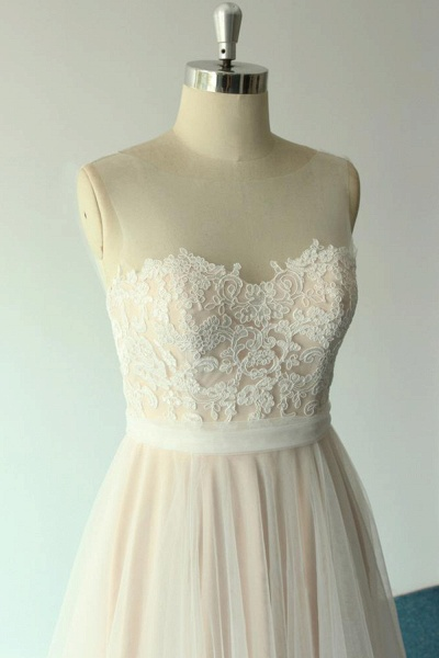 Awesome Illusion Lace Tulle A-line Wedding Dress_6