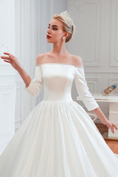 Off Shoulder Lace-up Satin A-line Wedding Dress_10